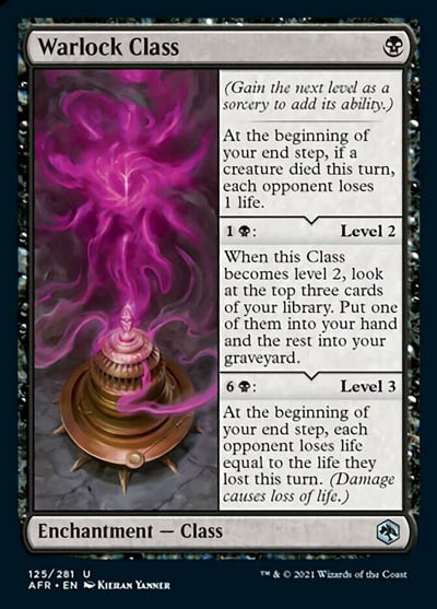 How good is Warlock Class as a new mono blue Enchantment in MTG Adventures in the Forgotten Realms
